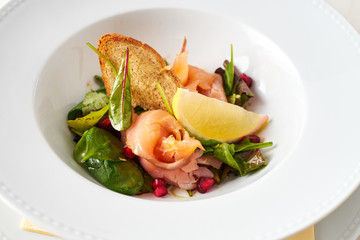 Smoked Salmon with granet apple salad