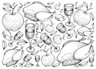 Hand Drawn of Roasted Turkey with Apple and Wine Background