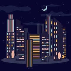 Night cityscape. Skyline with moon