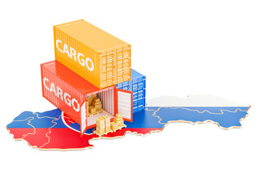 Cargo Shipping and Delivery from Slovakia concept, 3D rendering