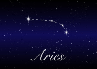 Aries zodiac constellations sign on beautiful starry sky with galaxy and space behind. Aries horoscope symbol constellation on deep cosmos background.