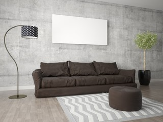 Mock up a trendy living room with a comfortable sofa and hipster background.