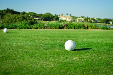 Sunny day and golf field natural scenic outdoors, bright sky background. Sunshine fitness leisure lifestyle space