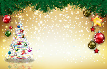 Abstract greeting with tree and decorations