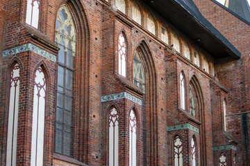 Medieval Gothic Windows in a Brick Wall