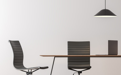 Modern working room interior minimal style image 3d rendering.There are empty white wall,black chair and wood desk
