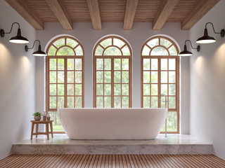 Scandinavian bathroom 3d rendering image.The Rooms have wooden and white marble floors,wooden ceilings and white walls .There are arch shape window overlooking to the nature.