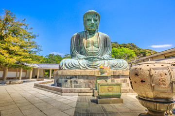 Fotobehang Bedehuis Kotokuin Temple, Kamakura in Kanto region, Japan. The temple is famous for Great Buddha or Daibutsu, a monumental bronze statue of Amida Buddha, one of the most famous icons of Japan.