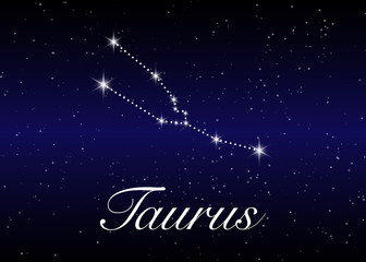 Taurus zodiac constellations sign on beautiful starry sky with galaxy and space behind. Taurus horoscope symbol constellation on deep cosmos background.