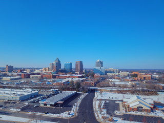 snow covered Greensboro skyline