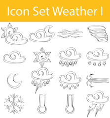Drawn Doodle Lined Icon Set Weather I