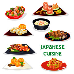Japanese restaurant dinner icon of asian cuisine