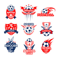 Football sport club heraldic icon with soccer ball