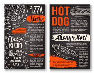 Fast food pizza and hot dog menu chalkboard poster