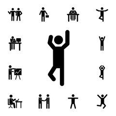 man with raised arms icon. Set of Silhouettes of people in different activities icons. Premium quality graphic design collection icons for websites, web design, mobile app