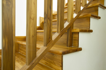 Photo on textile frame Stairs Modern style wooden stairs, Interior design.