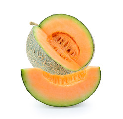 cantaloupe melon isolated on white background. Full depth of field with clipping path.