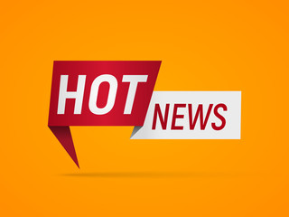 Isolated banner Hot News on orange background. Business and technology vector illustration