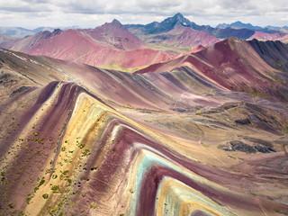 Zelfklevend Fotobehang Bergen Rainbow mountain in Peru, aerial view