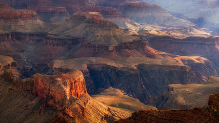 Sunrise spilling into the Grand Canyon at Mohave Point
