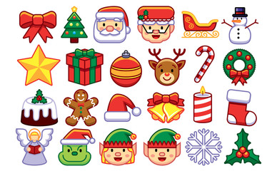 Set Of Christmas Emojis Isolated On White Background