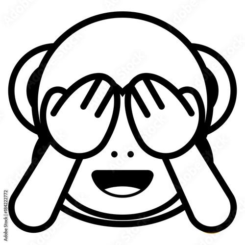 """""""cartoon monkey emoji isolated on white background"""" stock"""