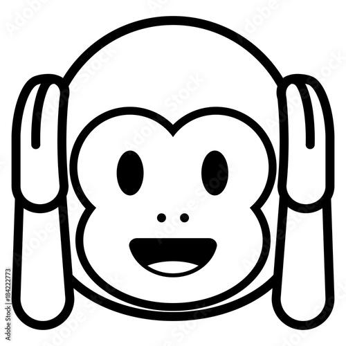 Cartoon Monkey Emoji Isolated On White Background