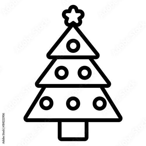 Cartoon Christmas Tree Icon Isolated On White Background Stock