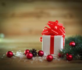 Christmas card. box with gift on Christmas background