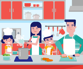 Young caucasian white parents with their son and daughter cooking together in kitchen at home. Couple with kids having fun while preparing vegetable meal. Vector cartoon illustration. Square layout.