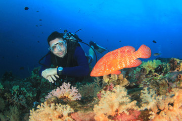Scuba diver and Coral Grouper (Trout) fish