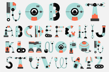 robot font collection flat design