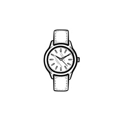 Vector hand drawn wrist watch outline doodle icon. Clock sketch illustration for print, web, mobile and infographics isolated on white background.