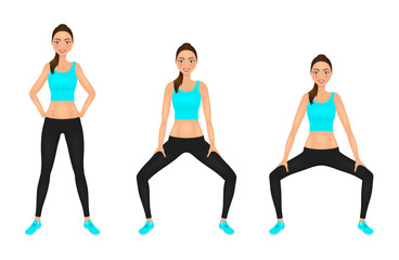 Smiling Young woman make squats exercises with hands on the hips. Fit girl in sportswear. Vector character.