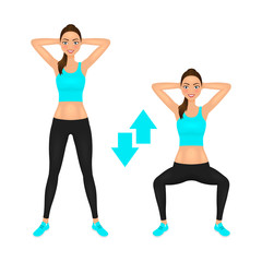 Squats exercise instruction. Smiling young woman make squats with hands behind the head. Fit girl in sportswear. Vector character.