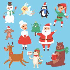 Christmas vector characters cute cartoon Santa Claus, snowman, Reindeer, Xmas bear, Santa wife, dog New Year symbol, elf child boy and penguin individual characteristics illustration