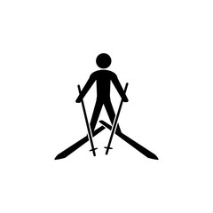 Skiing icon. Silhouette of an athlete icon. Sportsman element icon. Premium quality graphic design. Signs, outline symbols collection icon for websites, web design