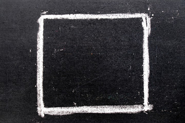 White chalk hand drawing in square shape on black board background