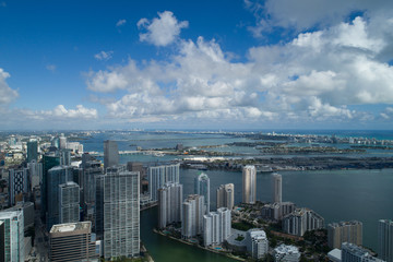 Wall Mural - Aerial image of Brickell Miami Biscayne Bay
