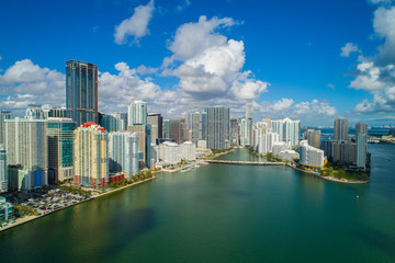 Wall Mural - Aerial Brickell city on the bay