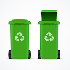 Realistic 3d Detailed Recycled Bins for Trash and Garbage. Vector
