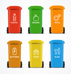 Realistic 3d Detailed Color Recycled Bin. Vector