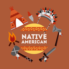 native american weapons tools icons set vector illustration