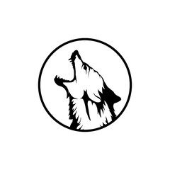Chinese wolf. Wolf head logo.