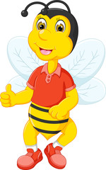 funny bee cartoon posing with smile and thumb up