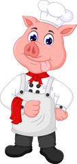 cute pig chef cartoon standing with smiling