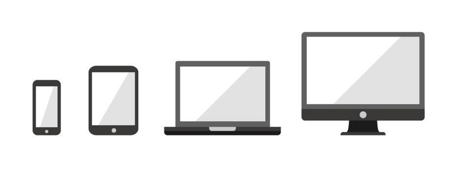 Device Infographic Icons: Smartphone, Tablet, Laptop, Desktop Computer