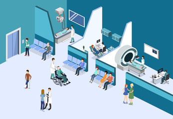 Isometric 3D vector illustration patients waiting for an elevator and waiting room for a doctor