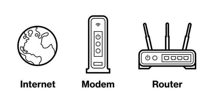 Device Infographic Icons: Internet, Modem, and Router