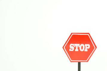 ストップ 止まれの標識 中止、禁止、反対、やめるなどのイメージ 白背景